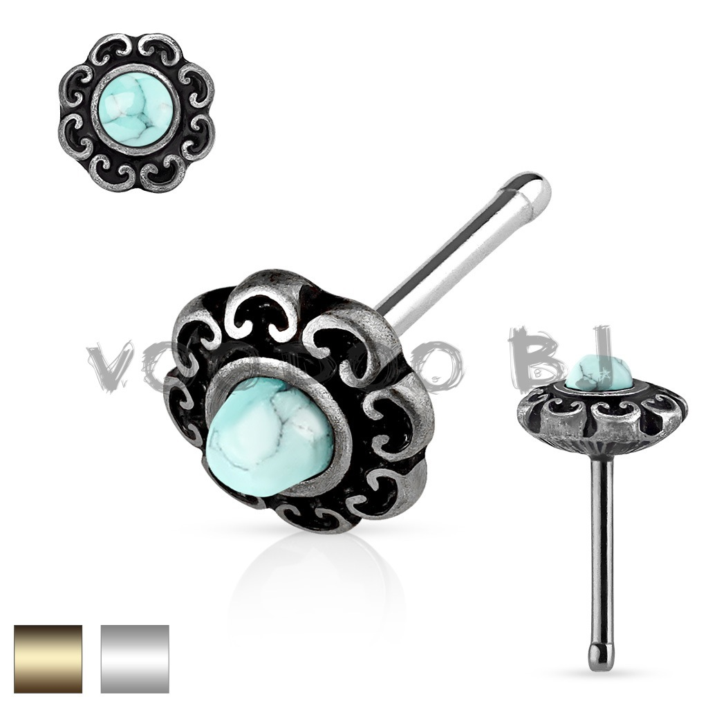 Turquoise Centered Tribal Heart Filigree Antique Plated Top 316L Surgical Steel Nose Stud Ring