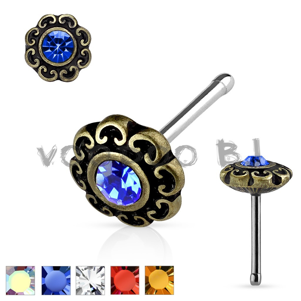 Crystal Centered Tribal Heart Filigree Antique Gold Plated Top 316L Surgical Steel Nose Stud Ring