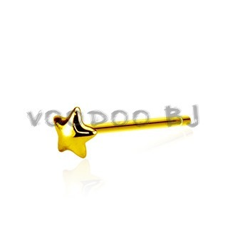 Dome Star 3mm Bendable Nose Ring 20GA .925 Sterling Silver Gold Plated