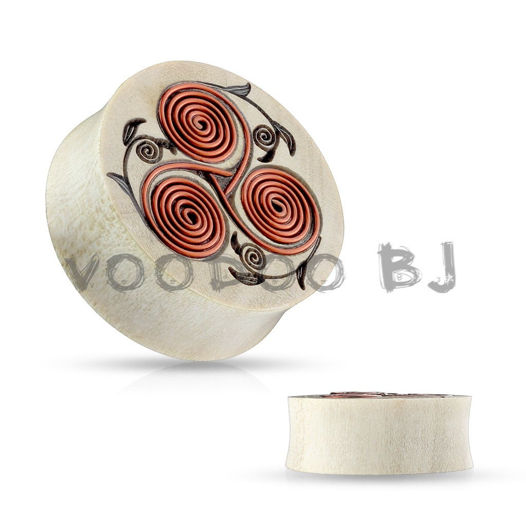 Natural Crocodile Wood Saddle Plugs with Tribal Floral Design with Copper Wires
