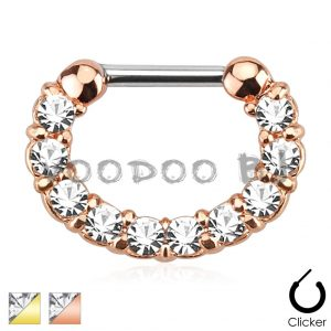 Single Line Gem Paved Rose Gold Plated Septum Clicker