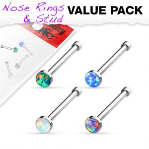 Surgical Steel Antique Silver Nose Stud with Pink Opal Tribal Heart Filigree Top