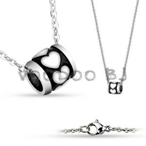 Shiny Hearts on Black 316L Stainless Steel Pendant with Chain