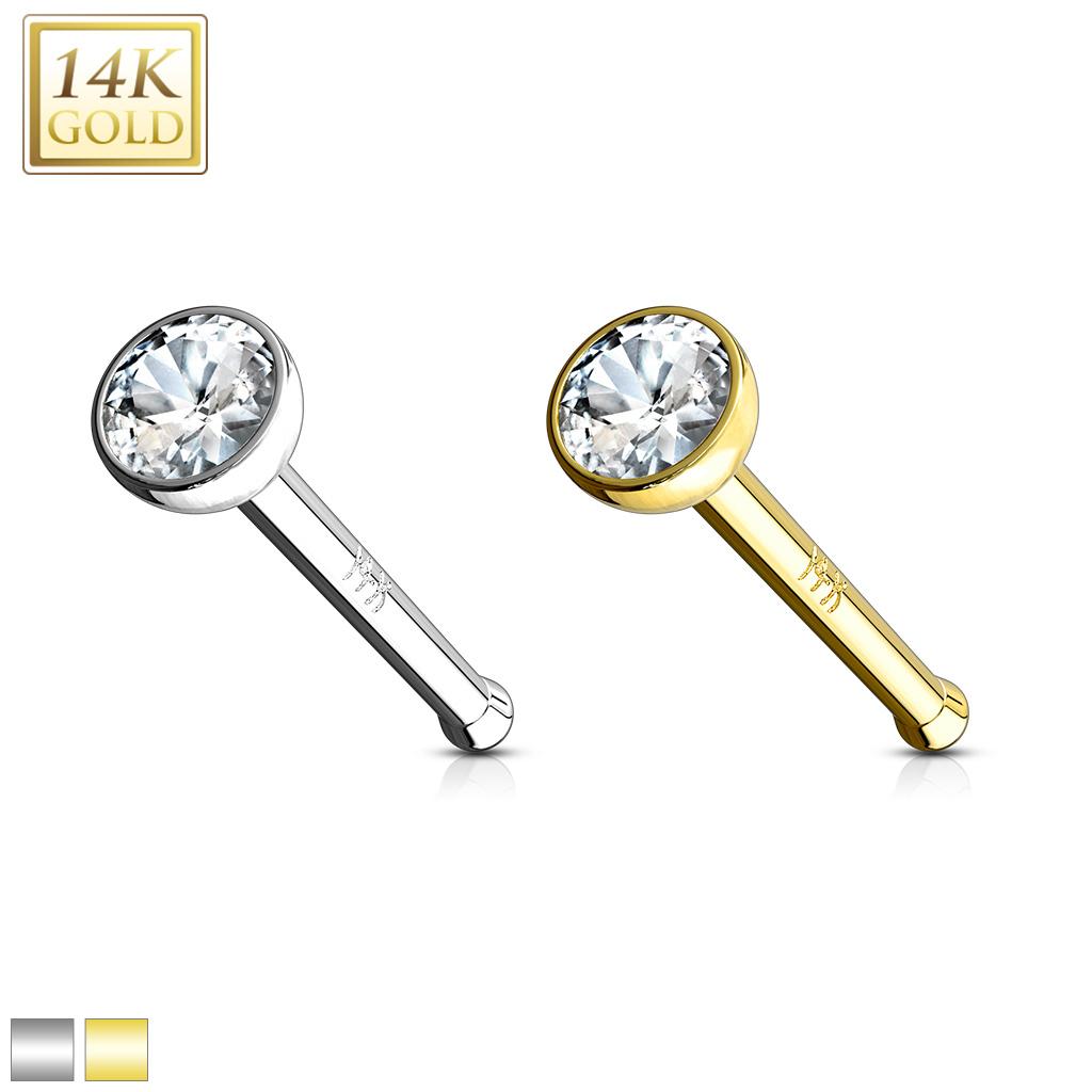 Bezel Set Clear 2mm Cz Ball Nose Stud Ring 14 Karat Solid Gold